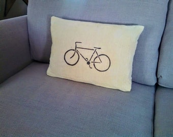 Recycled Drop Cloth Pillows-   Hand made Hand Painted Bike Stencil