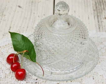 Cut glass butter dome. Vintage covered butter dome. Vintage butter dish. Pressed glass butter dish