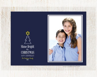 Hanukkah Photo Card - CHRISMUKKAH - personalized with photo - combined Christmas Hanukkah
