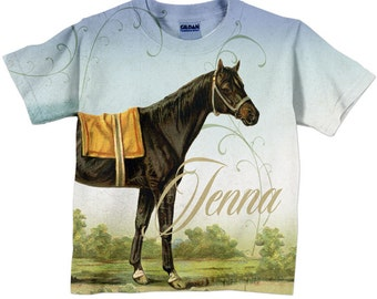 Girls Horse T-Shirt, Personalized Equestrian Shirt, Top, Children's Clothing