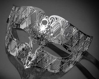 Masquerade mask for men, silver mask, silver metal mask, silver masquerade masks, Mens Masquerade Mask, Roman God Mask,