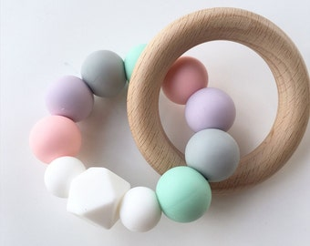 GRACE Pastel Baby Teething Toy // Wooden Teether // Silicone Teether // Silicone beads // Rattle // Teething Ring // Teething Jewelry