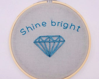 5 inch 'Shine Bright' hand sewn embroidery hoop wall hanging home decor art piece