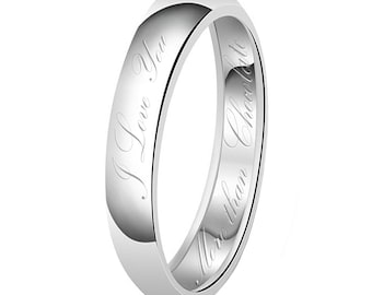 4mm I Love You More than Chocolate Engraved Classic Sterling Silver Plain Wedding Band Ring