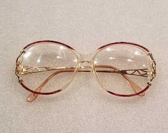 70s ladies vintage glasses gold, red accents, prescription
