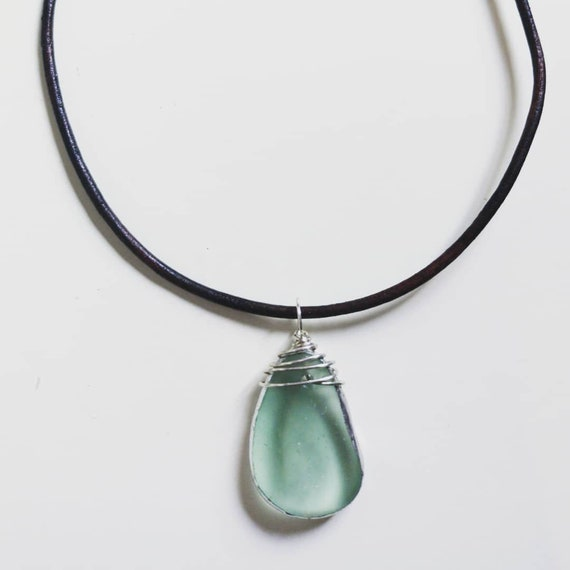 River Glass from the bed of the Wear - Sterling Silver Wrapped Pendant on thick leather rope.