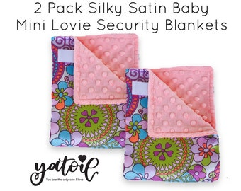 2 PACK / BABY mini security lovey Blanket  /silky satin with plush minky dimples / Mini lovie blankie/ Newborn baby  gift / sensory blanket