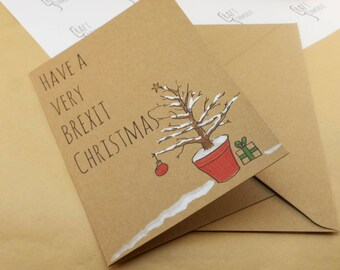 Brexit, Christmas card, Christmas cards, funny Christmas card, Christmas, hand drawn, xmas card, funny holiday card, political card, satire