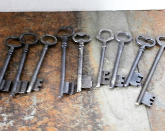 Set of 9 Antique French Hotel Keys