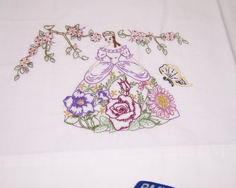 Pillowcases - southern belles - flowers - hand embroidery - one of a kind- standard size - SHIPS FREE!!!