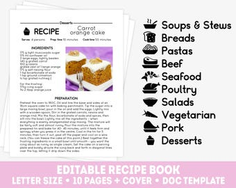 Big recipe template set, 10 editable recipe pages and cover, personalized recipe book, editable cookbook template, doc recipe template