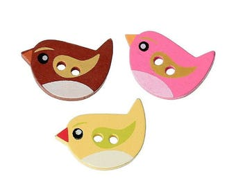 5 buttons wood bird - multicolored - 2 holes 22x15mm