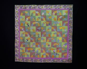 Handmade Quilt, Quilt Art, Quilt Wall Hanging, Circle Quilt, Quilt Throw, Lap Quilt, Kaffe Fassett Quilt, Dots Quilt, Baby Quilt, Quilt Art