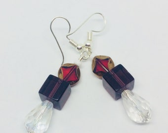 Unique geometric beaded earrings, funky modern styling, glowing colours, statement earrings, red and purple glass beads, sparkling crystals