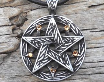 Pewter Double Pentagram Celtic Pagan Pentacle Pendant with Swarovski Crystal Gold Topaz NOVEMBER Birthstone (56I)