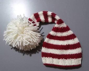 Handmade Knit Pom-Pom Santa Elf Hat Made to Order