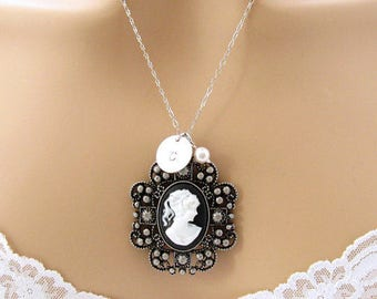 Black Cameo: Victorian Woman Black Cameo Necklace/Antiqued Silver/Personalized Romantic Victorian Jewelry/Romantic Gift for Her