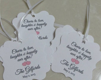"Personalized Favor Tags 2x2"" Wedding tags, Thank You tags, Favor tags, Gift tags, Bridal Shower Favor Tags, cheers tag"