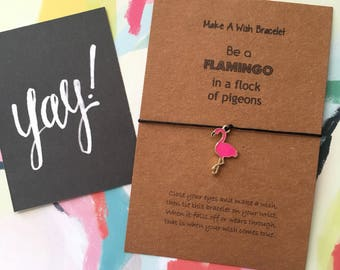Make A Wish Bracelet / Charm Bracelet - Be a Flamingo in a Flock of Pigeons - Enamel Charm