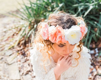 Beautiful Summer Coral and Cream Floral Crown for Spring or Summer, Ranunculus, Peony and Rose Floral Crown