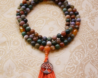Fancy Jasper Mala Bead Necklace with Yellow Agate & Red Aventurine - Multicolored Jasper Tibetan Mala Prayer Beads