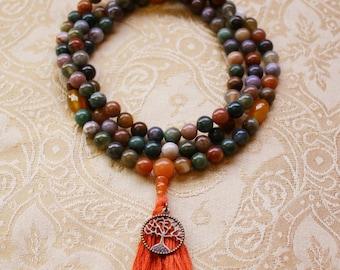 Collier Mala jaspe Fancy avec Agate jaune & rouge Aventurine - jaspe multicolore perles de prière Mala tibétain