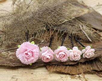 Pink Roses & Canation Hairpin, Mulberry Paper Flower Hair Pins , Bridal Hair Pins, Hair Bobby Pins,Prom,Bridal Hair Accessories (FL376)
