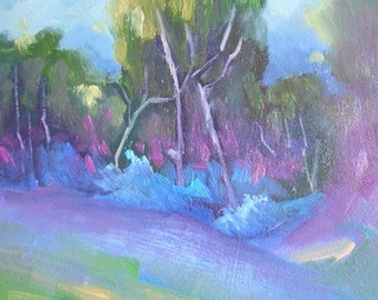"Landscape Oil Painting, Trees in Shadow, 6x8"" Landscape, ""Deep Purple"", Free Shipping in US"