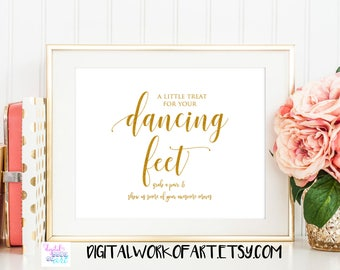 Gold Dancing Shoes Sign, A little Treat for your dancing feet sign, Sole Mates Signs, Dance Floor printable signs, Flip flop Sign, #SG