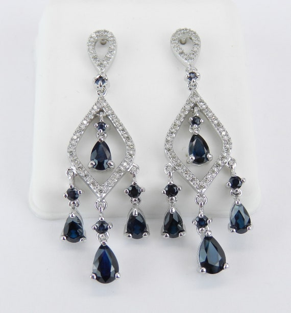Sapphire and Diamond Earrings White Gold Dangle Drop Chandelier Wedding Earrings