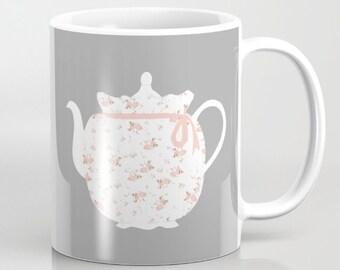 Mug, Baby Roses Teapot with Tea Cozy mug, 11 oz and 15 oz