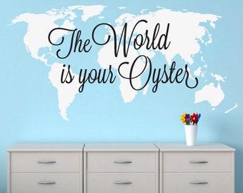 World is Your Oyster, Nursery Decor, Baby Map, World Map, Map Decal, World Map Decal, Wall Decal, Wall Art, Stickers, Wall Decor - SKU:TWIYO