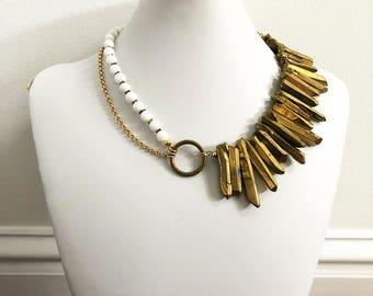 Golden Quartz Sunrise Necklace // asymmetrical necklace, quartz spike necklace, gold quartz necklace, goddess necklace, sunbeam necklace