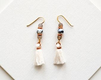 White Fringe Earrings, Tassel Earrings, Bridal Boho Jewelry, Beaded Agate Earrings, Shoulder Duster Earrings, Tassle Earrings, Hippie Chic