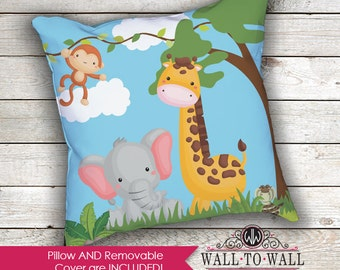Kids Cute Jungle Animals Theme Decorative Throw Pillow Nursery Bedroom Room Decor Elephant Monkey Giraffe Accent Pillow