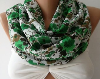 Scarf  Valentine's Gift  Gift Scarf Green floral loop scarf infinity scarf fashion accessories holidays gift for her