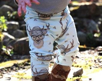 Baby Leggings Boy, Toddler Leggings, Hipster Deer Leggings, Baby Clothing
