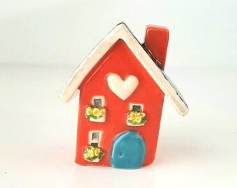 Little Orange Clay House Whimsical, Ceramic Fairy House, Gnome Home, Whimsical Terrarium Decoration