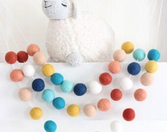 Pom Pom Garland- Felt Ball Garland- Boy Nursery Decor- Southwestern sky- Felt Garland- Tribal nursery Decor- Peach Navy Coral Aqua