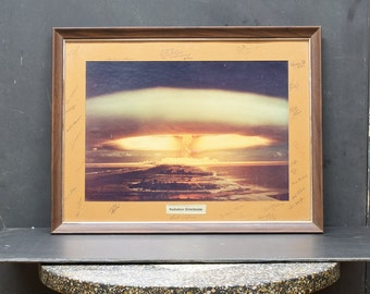 Vintage Framed Image Atomic Bomb Explosion Photograph Print Poster Mid-Century