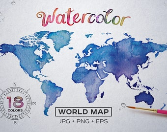 Watercolor world map etsy buy watercolor world map printable poster 18 vector and raster worldmap jpgepspng gumiabroncs Gallery