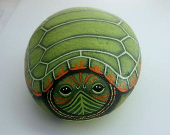 Fathers Day-hand painted pet rocks-Snapping Turtle-unique ooak garden art decor-doorstop-paperweight-gift for gardener-naturalist-SHIPS FREE