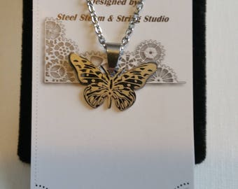 Stainless Steel Butterfly necklace and chain jewelry hypo-allergenic