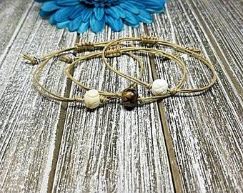 Bone Bead Bracelet, Bone Bracelet, Beaded Bracelet, Bracelet, Macrame, Friendship, String Bracelet, Minimalist, Wish Bracelet