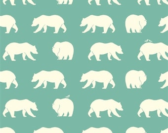 Bear Hike on Pool From Birch Organic Fabric's Bear Camp Collection by Jay-Cyn Designs