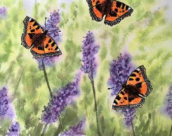 Butterflies on Lavender an original watercolour