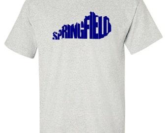 Springfield Kentucky Word Art Hometown Pride Adult Unisex Tshirt
