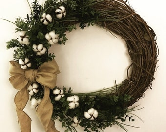"18"" Cotton, Boxwood Spring Wreath"