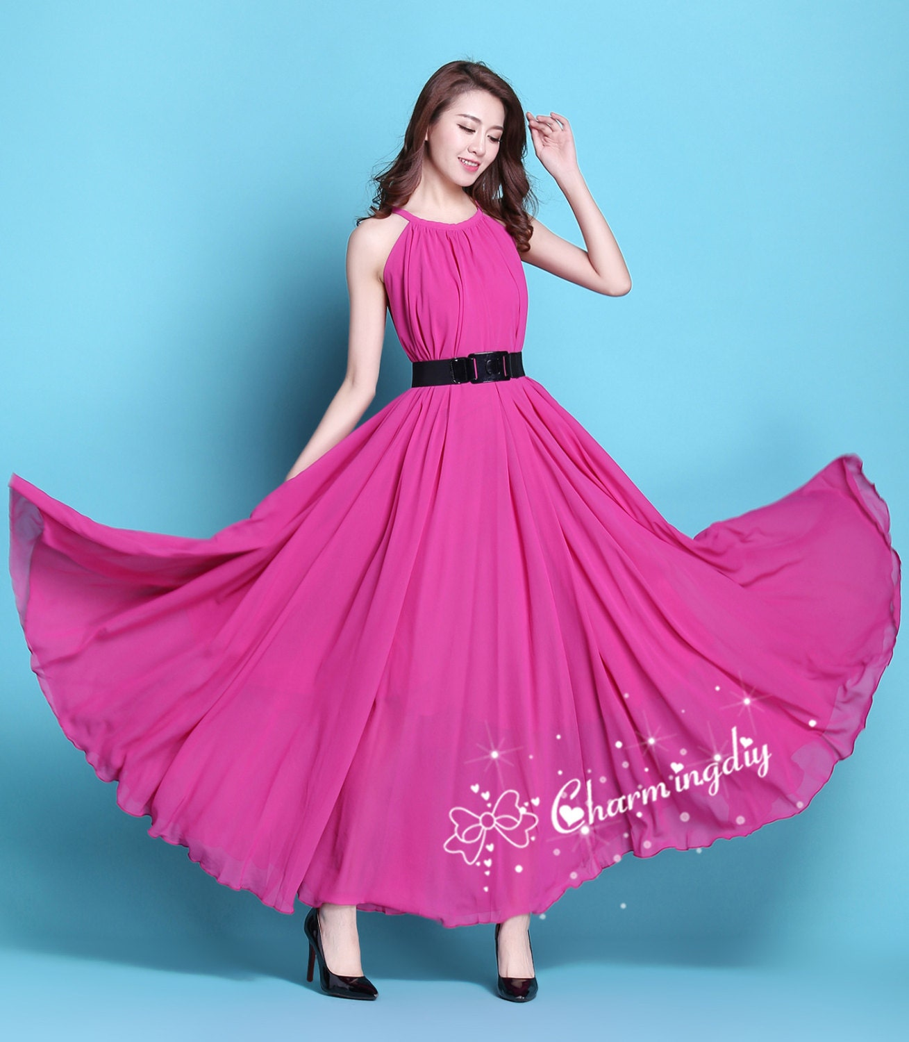 90 Colors Chiffon Rosy Long Party Dress Evening Wedding