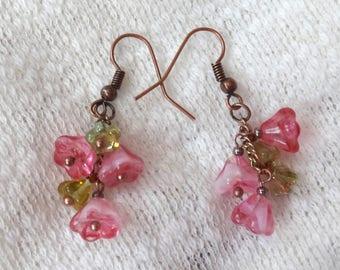 Pink, Green Flower Beads Copper Color Drop Earrings
